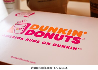 Half Moon Bay, California – July 12, 2017: A photo taken in Dunkin' Donuts in Half Moon Bay roughly 11 month after the store opening here in August 2016 as part of their reentry to the Bay Area.