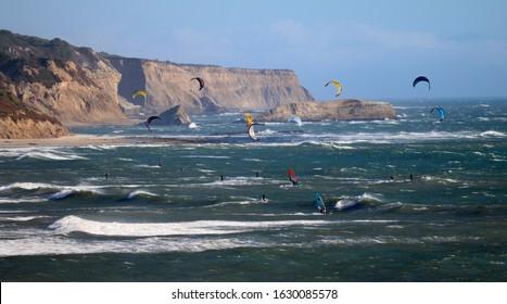 HALF MOON BAY, CALIFORNIA, USA - October 7, 2019: Kitesurfing off the coast of Half Moon Bay
