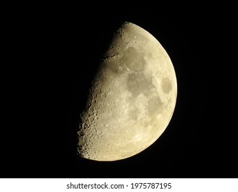 Half moon and craters; Illuminated and bright astrophotography