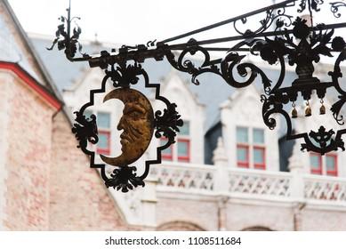 Half Moon Decoration in Bruges, Belgium