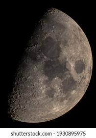 Half moon at the deep sky at night
