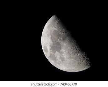 half moon from mobile phone in winter season