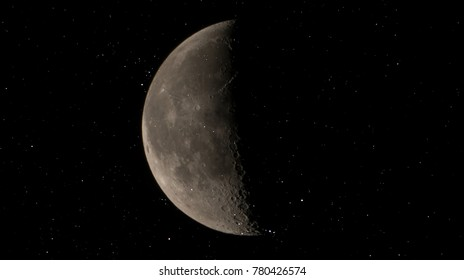 Half moon on star concept. Star and moon on black background. It is a black and white image that see details on the surface. Look again is awesome suitable for background. Moon orbit planet Earth.