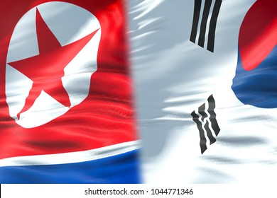 half north korea flag and half south korea flag, crisis state diplomacy and north korea for nuclear atomic bomb risk war concept