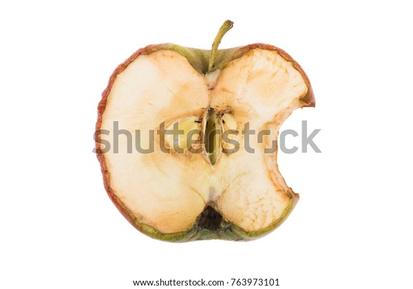 A half old apple bitten photographed on white background.