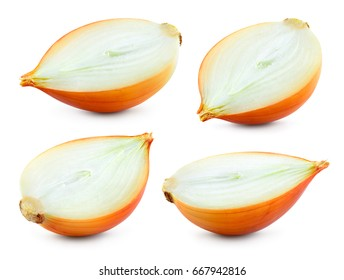 Half of onion bulb isolated on white background. With clipping path. Full depth of field. Collection.
