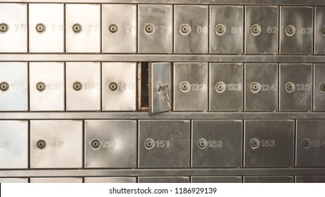 Half opened silver steel post office box (P.O. BOX) with keys inside the lock