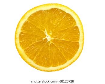 Half of orange fruit isolated over white background