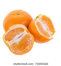 Half orange fruit on white background, fresh and juicy.