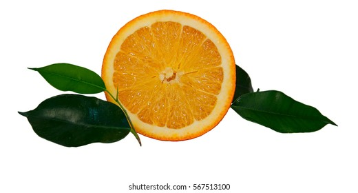 Half of orange with green leaves, isolated on white background