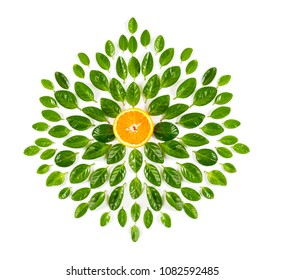 Half an orange and green leaves in the shape of a flower on a white background. Isolated.