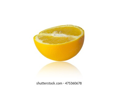 Half Orange isolated on white background with clipping path