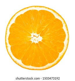 half an orange on a white background, isolated. place for text