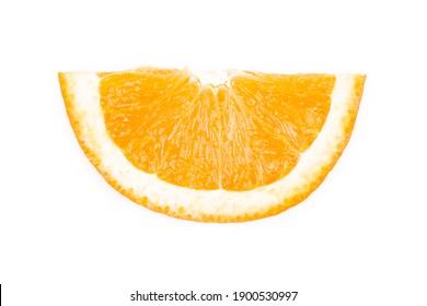half orange slice on white background, isolated