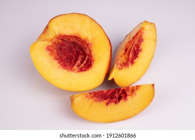 half a peach and a few slices are fleshy up