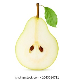 half pear, slice, isolated on white background, clipping path