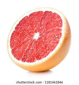 Half of perfectly retouched grapefruit isolated on white background