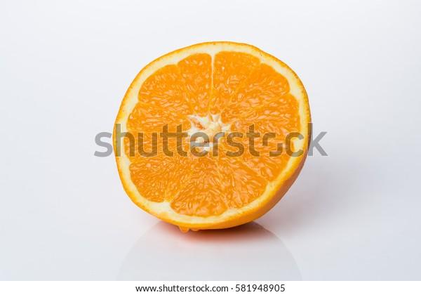 Half piece of an freshly cut orange