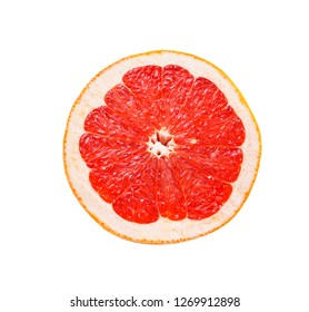 half of pink grapefruit isolated on white background