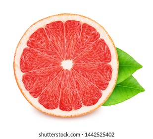 Half of pink grapefruit with leaves isolated on white background. As package design element.