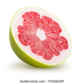 A half of pomelo fruit isolated on white background. Clipping path included.