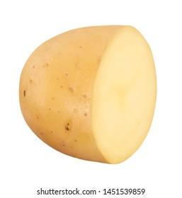 half of potato on white background