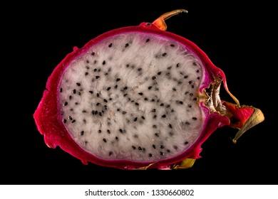 half red dragon fruit closeup