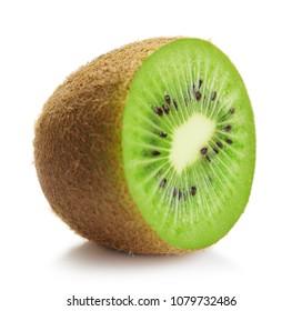 half of ripe kiwi isolated on white background