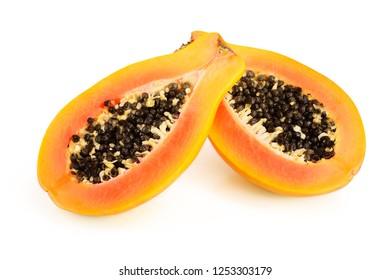 half of ripe papaya isolated on a white background