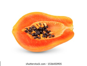 half ripe papaya isolated on white background.