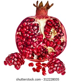 Half ripe pomegranate fruit isolated on white background cutout