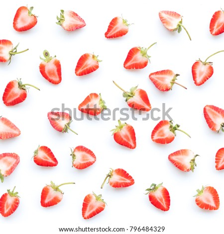 6c078c3672 Half of ripe strawberry, abstract seamless pattern flat lay on white  background, food ideas