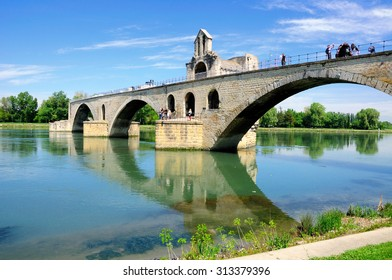 Half ruined bridge of Avignon. Provence. France.