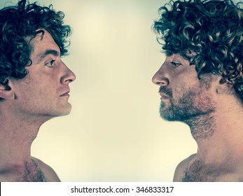 Half shaved man looking at himself with and without a beard