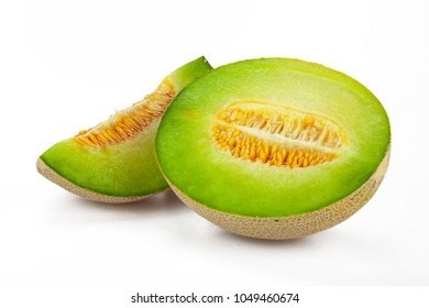 Half and Slice of Canteloupe Melon