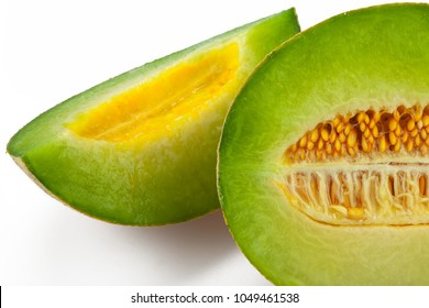Half and Slice of Canteloupe Melon Close-Up