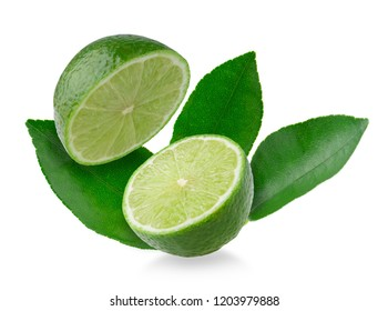 Half with slice of fresh green lime isolated on white background.