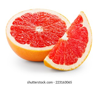 Half and slice of grapefruit isolated on white
