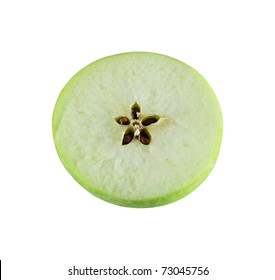 Half of the sliced apples on a white background, with five seeds in the center.
