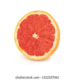 Half sliced fresh orange grapefruit/pomelo with red juicy pulp, isolated on a white background front side.