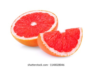 half and sliced grapefruit isolated on white background