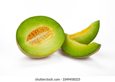 Half and Slices of Canteloupe Melon