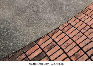 Half stone floor with brick block floor.