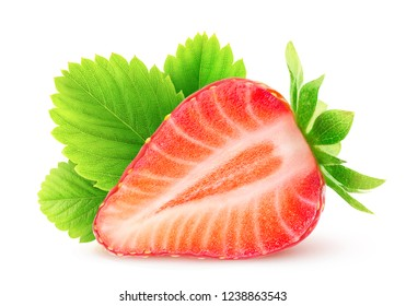 Half of strawberry fruit with leaf isolated on white background with clipping path