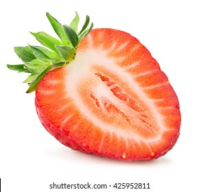 half of strawberry isolated on the white background