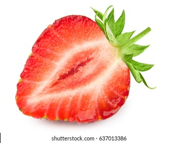 Half of strawberry isolated on white background