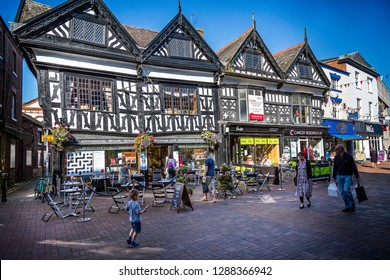 Half timbered Elizabethan buildings in High Street, Nantwich, Cheshire, UK taken on 1 September 2014