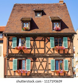 Half timbered house in Colmar city, Alsace France