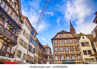 Half timbered houses in the old city of Strasbourg, France