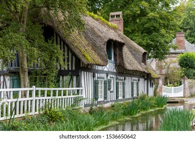 Half timbered tradtional house in Veules-les-Roses, Normandy, France - Shutterstock ID 1536650642